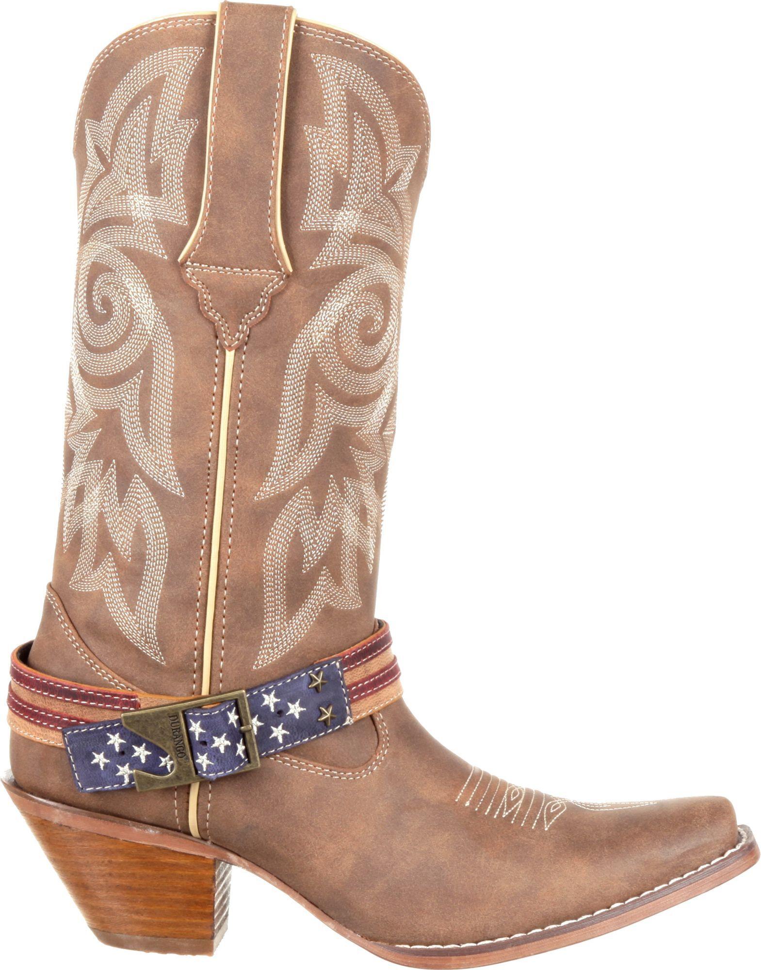 Durango Women's Crush Flag Accessory Western Boots, Brown