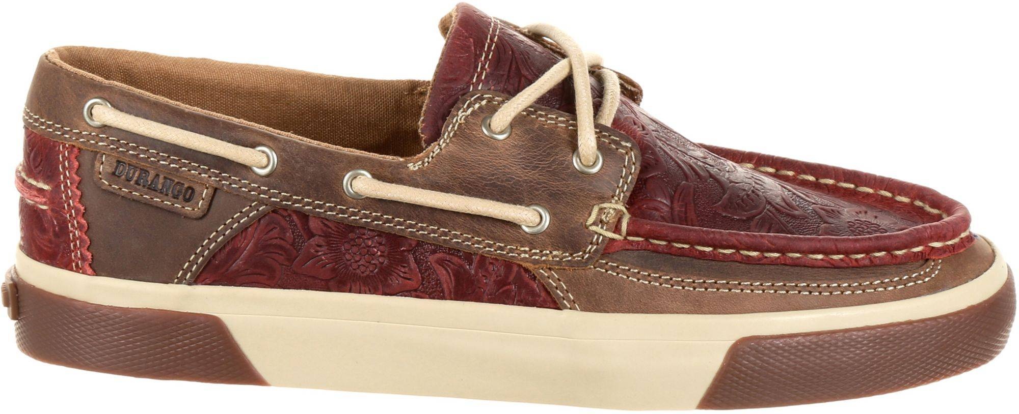 Durango Women's Music City Western Embossed Boat Shoes, Red