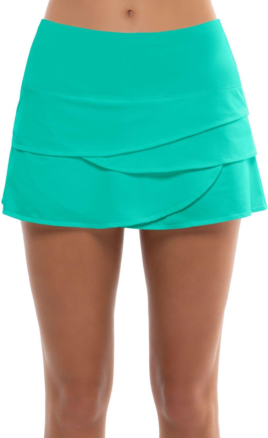Lucky in Love Women's Scallop Tennis Skirt, Small, Aquamarine
