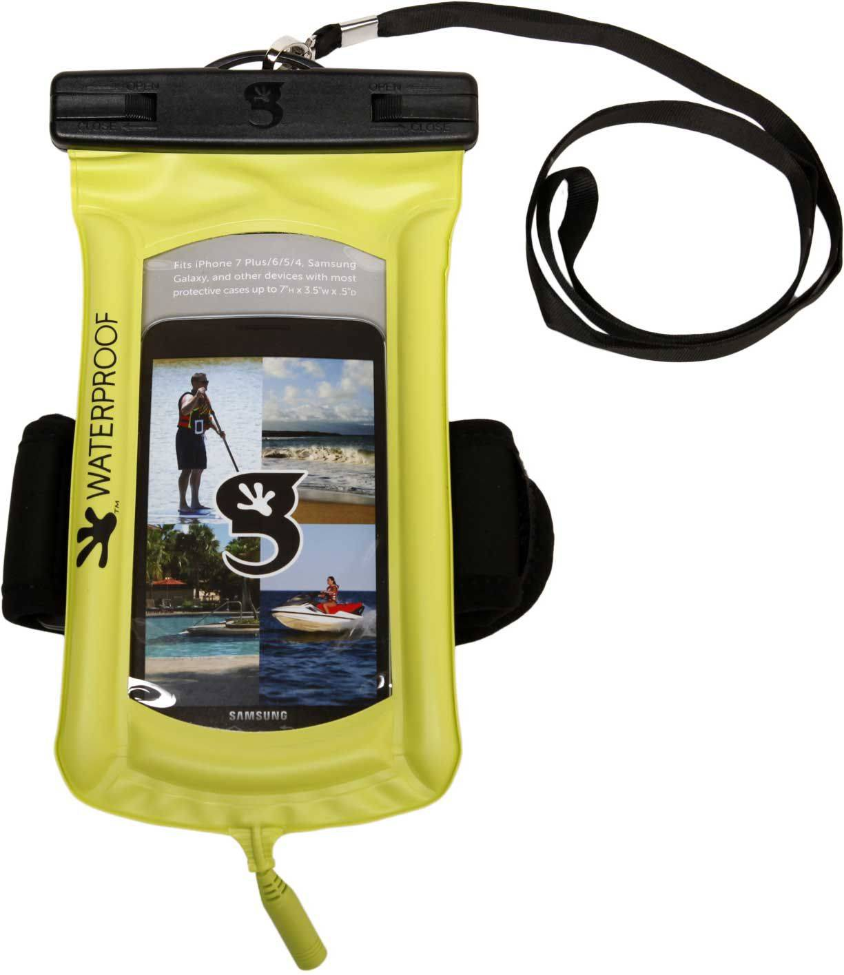 geckobrands Floatable Waterproof Phone Case with Audio Cord and Arm Band, Green