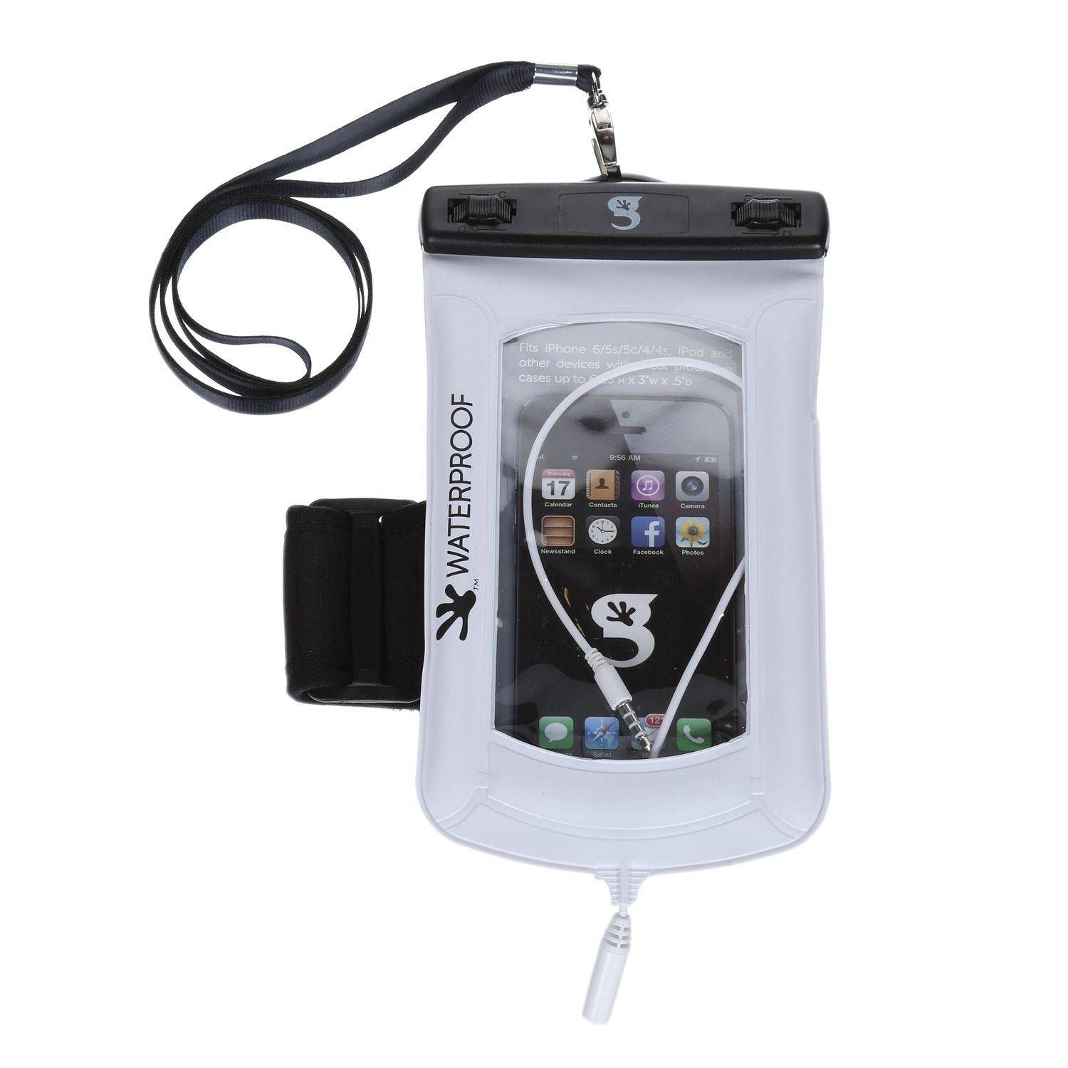 geckobrands Floatable Waterproof Phone Case with Audio Cord and Arm Band, White