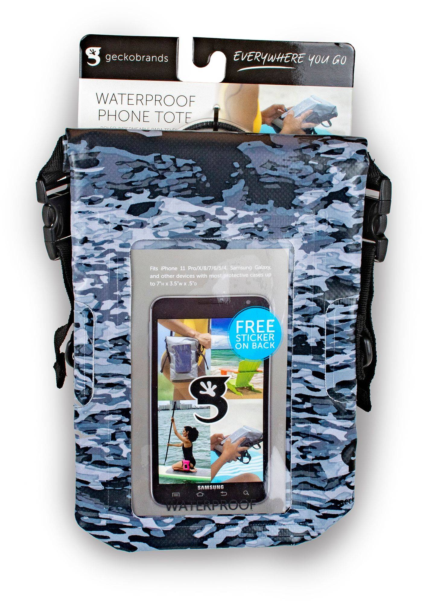 geckobrands Waterproof Phone Tote, Artic Geckoflage