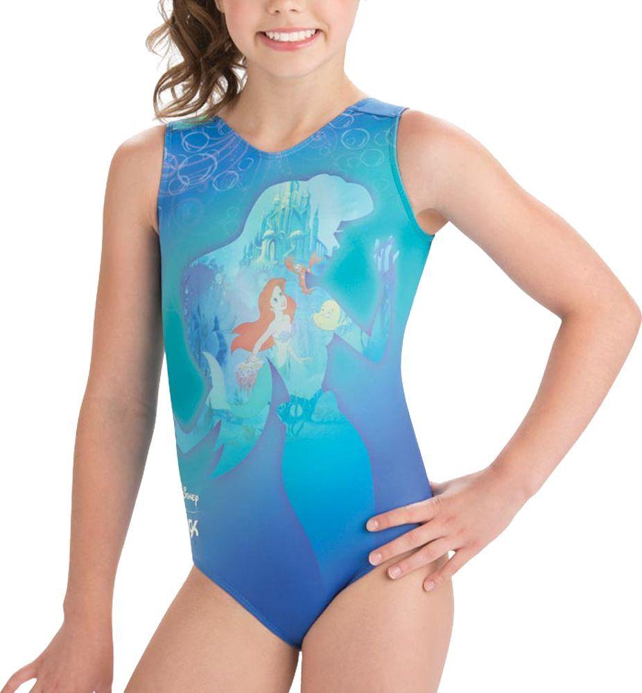 GK Elite Disney Ariel in the Sea Gymnastics Leotard, Women's, YL, Green