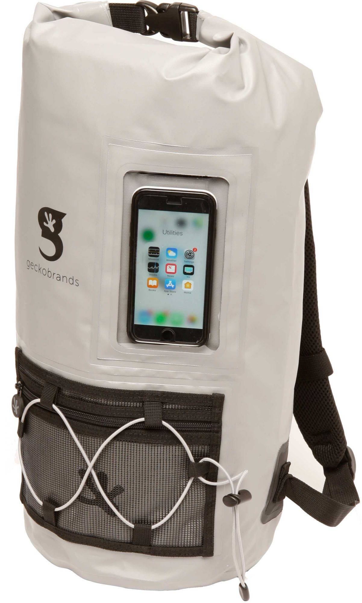 geckobrands Waterproof Hydroner Backpack with Clear Phone Compartment, Gray