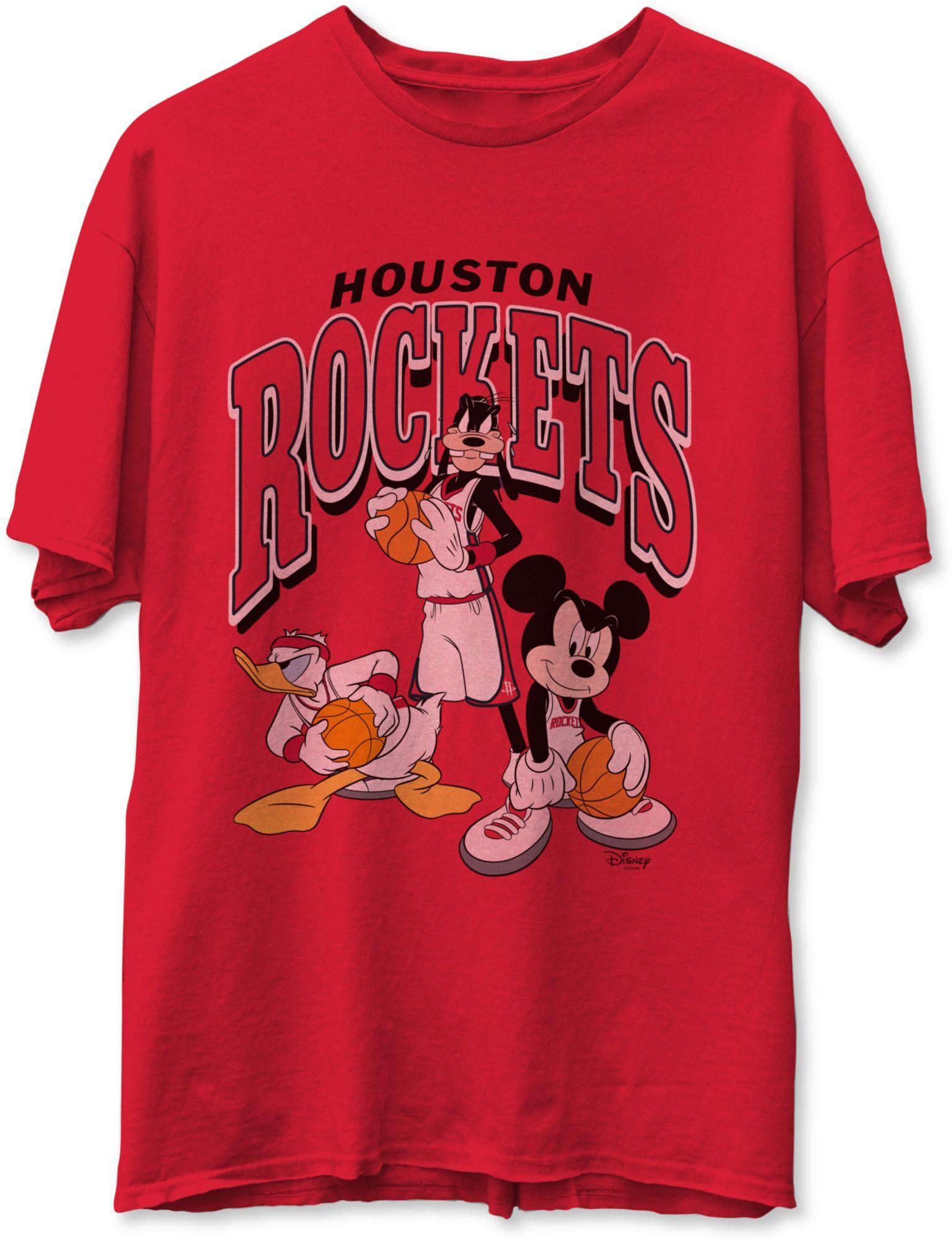 Junk Food Men's Houston Rockets Red Disney Vintage Mickey Squad T-Shirt, Large