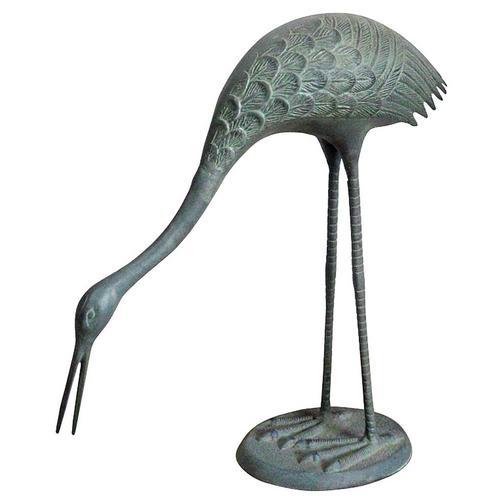 San Pacific Feeding Crane Garden Sculpture -Blue