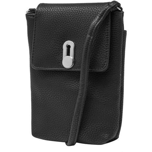 Mundi Cell Phone Pebble Leather Crossbody Wallet -Black