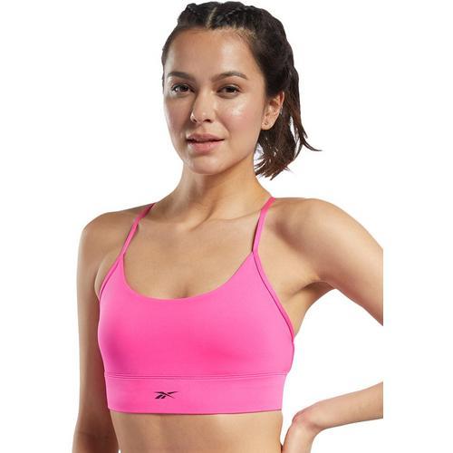 Reebok Womens Solid Crisscross Sports Bra -Pink