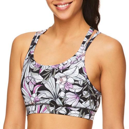 Gaiam Womens Shiva Sports Bra -Black/Pink/White