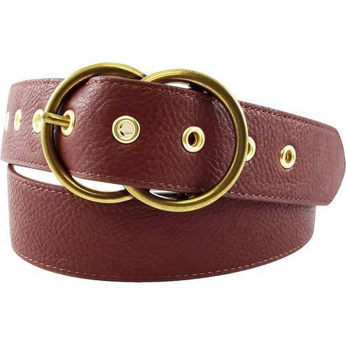 Bay Studio Womens Double Ring Buckle Perforated Belt -Brown/Gold