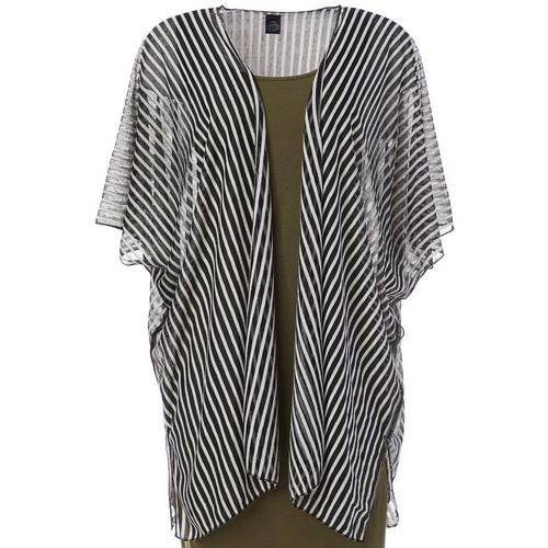 Cejon Accessories Women Burnout Stripe Kimono -Black
