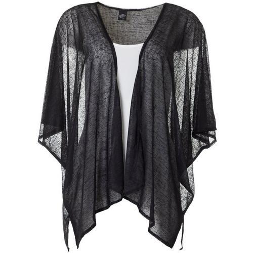 Cejon Accessories Women Solid Slub Kimono -Black