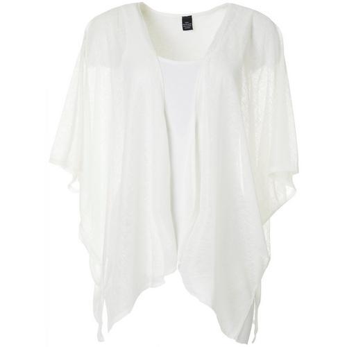 Cejon Accessories Women Solid Slub Kimono -White