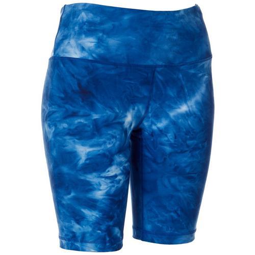 VOGO Womens Tie Dye Pull On Bike Shorts -Blue