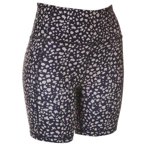 Jessica Simpson Womens Print High Waist Bike Shorts -Black/Brown