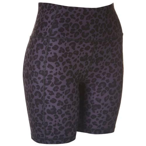 Jessica Simpson Womens Print High Waist Bike Shorts -Black/Grey