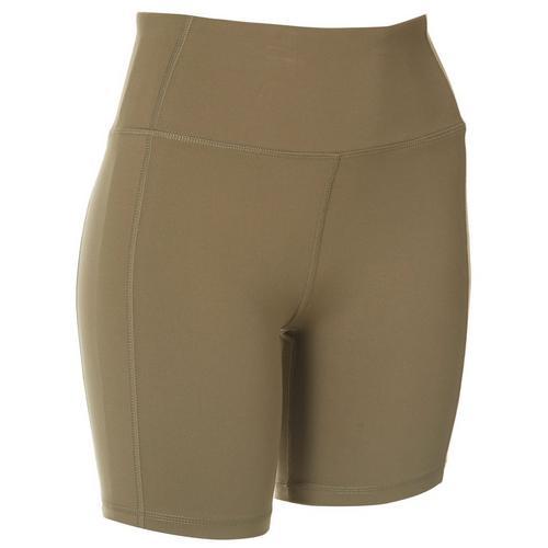 Jessica Simpson Womens Print High Waist Bike Shorts -Green