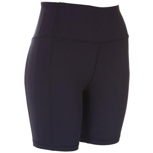 Jessica Simpson Womens Print High Waist Bike Shorts -Blue