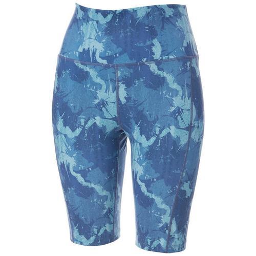 Brisas Womens Graphic Camo Bike Shorts -Blue/Multi