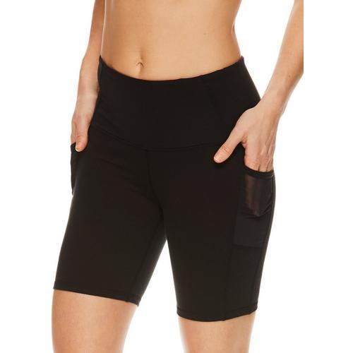 Gaiam Womens OM Solid High Rise Bike Shorts -Black