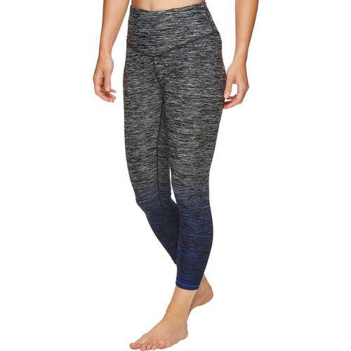Gaiam Womens Heathered Dip Dye Capri Leggings -Grey