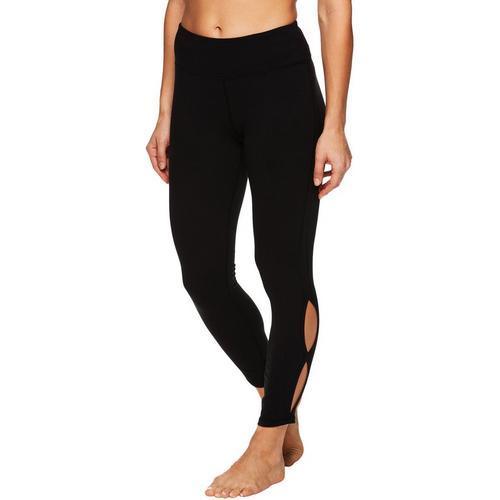Gaiam Womens Solid Nola Cutout Leggings -Black