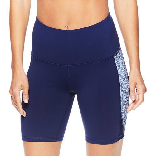 Gaiam Womens Essie Graphic Panel High Rise Shorts -Blue/Multi
