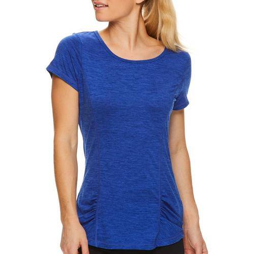 Gaiam Womens Energy Rouched Detail T-Shirt -Blue