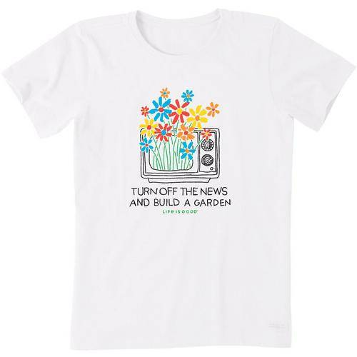 Life Is Good Womens Garden Crusher T-Shirt -White