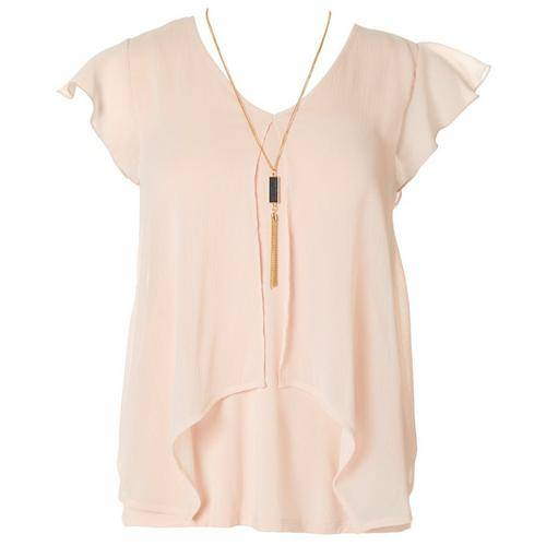 A. Byer Juniors Popover V-Neck Short Sleeve Top -Pink