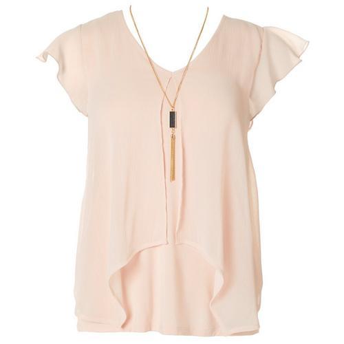 A. Byer Juniors Popover V-Neck Short Sleeve Top -Pink