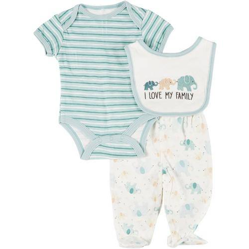 Kyle & Deena Baby Boys 3-pc. Elephant Bodysuit & Bib Set -Green/White