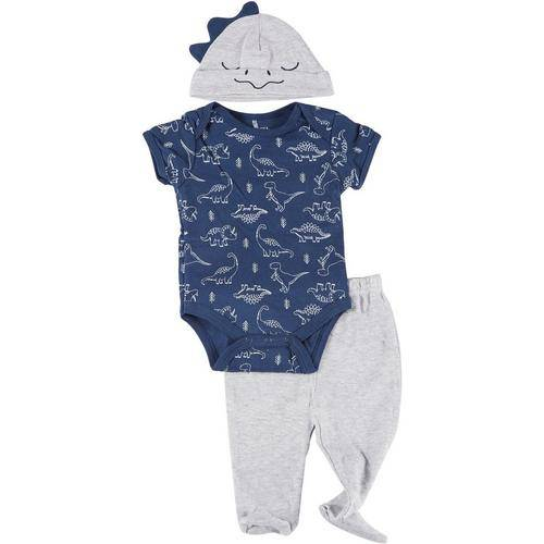 Kyle & Deena Baby Boys 3-pc. Dino Bodysuit & Hat Set -Blue/Grey