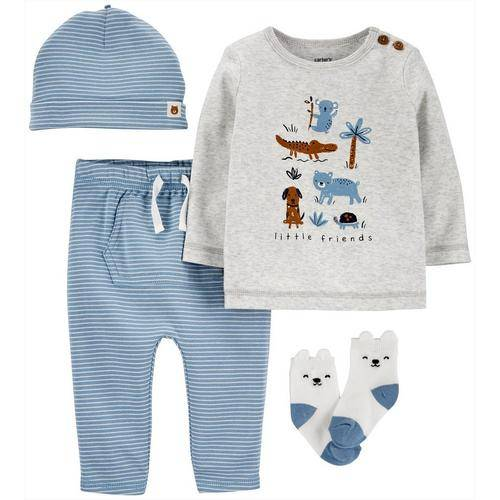 Carters Baby Boys 4-pc. Little Friends Clothing Set -Blue/Grey