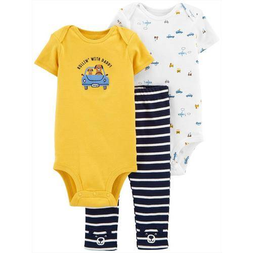 Carters Baby Boys 3-pc. Rollin With Daddy Clothing Set -Multi/Yellow
