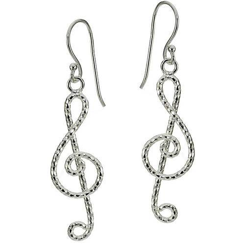 Signature Sterling Silver Music Note Earrings -Grey/Silver