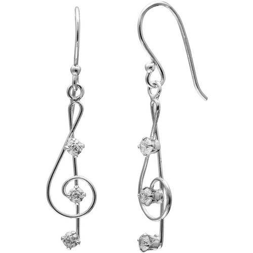 Signature CZ Music Note Earrings -Grey