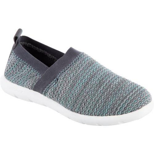 Isotoner Womens Zens Sports Knit Slip-On Slipper -Grey