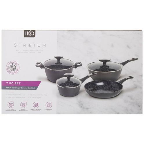 IKO Stratum 7-pc. Aluminum Ceramic Nonstick Cookware Set -Black