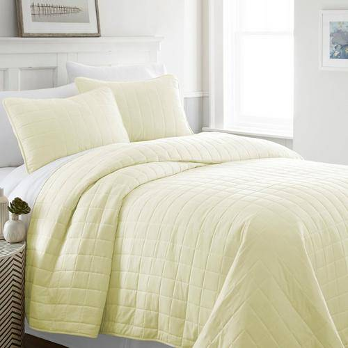 Home Collections Premium Soft Square Quilted Coverlet Set -Yellow