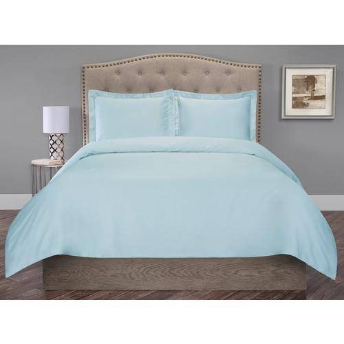Elite Home Organic Cotton Duvet Cover Set -Blue