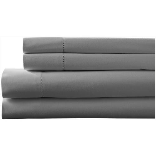 Elite Home Hemstitch Solid Sheet Set -Grey