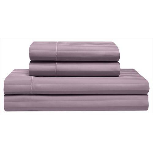 Elite Home Cooling Cotton Satin Stripe Sheet Set -Purple