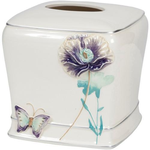 Creative Labs Bath Garden Gate Tissue Box Cover -Purple