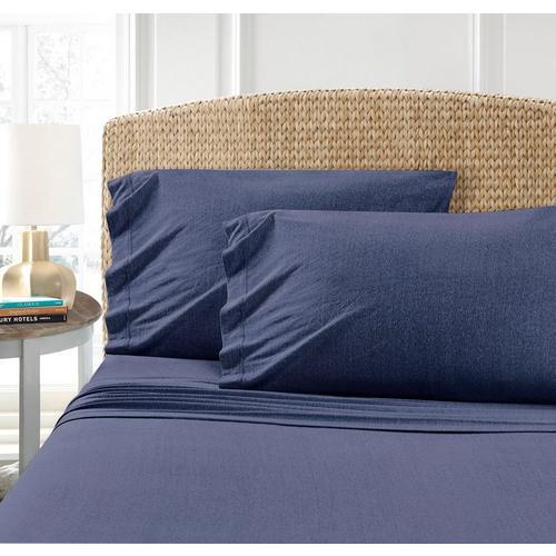 Morgan Home Fashions Cotton Blend T-Shirt Jersey Sheet Set -Blue