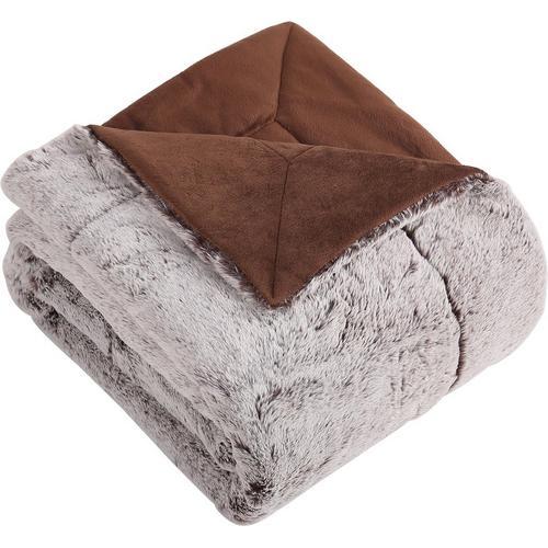 Morgan Home Fashions Millburn Faux Fur Throw Blanket -Beige