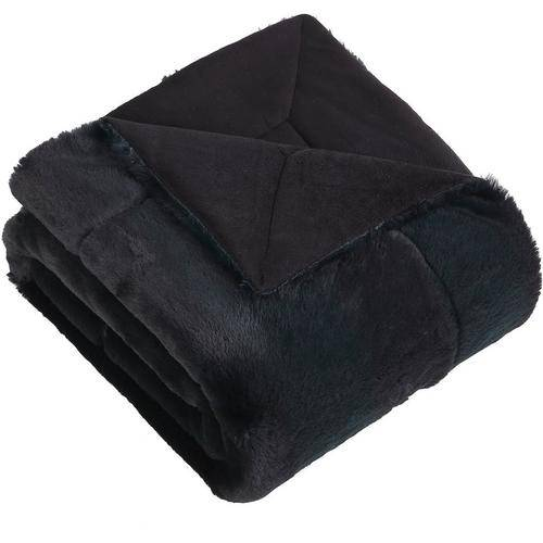 Morgan Home Fashions Millburn Faux Fur Throw Blanket -Green