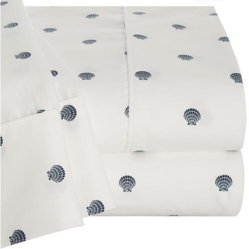 Coastal Home Scalllop Shell Sheet Set -White