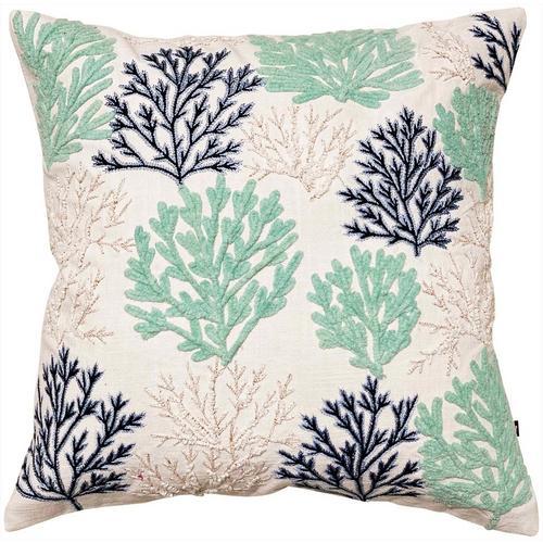 Satvik Coral Garden Embroidered Decorative Pillow -Blue/Green/White