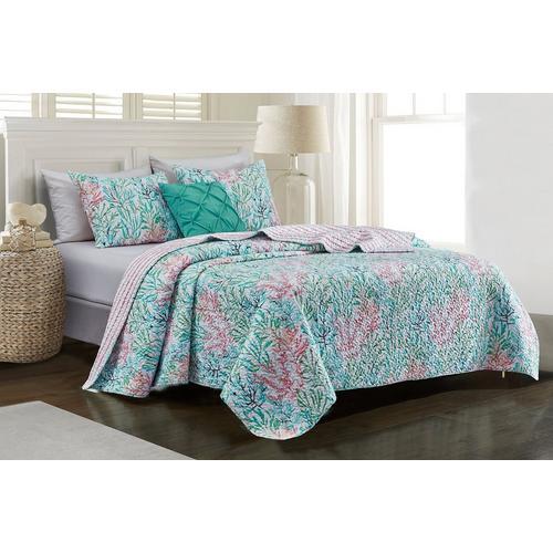 Tackle & Tides Tidal Garden Quilt Set -Blue/Pink/White